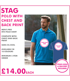 Stag polo with chest and back print