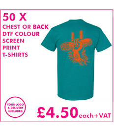 50 DTF Scren printed T-shirts with chest print