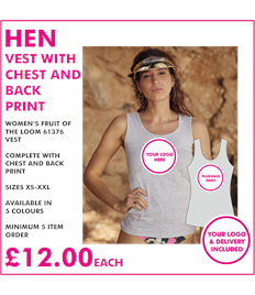 Hen vest with chest and back print