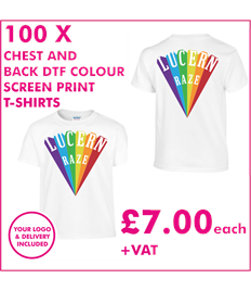 100 DTF Screen Printed T-shirts with chest and back print