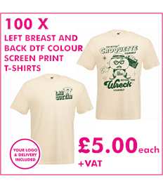 100 DTF Screen printed T-shirts with left breast and back print
