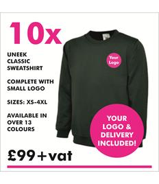 10 x Uneek Classic Sweatshirt