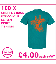 100 DTF Sreen printed T-shirts with chest print