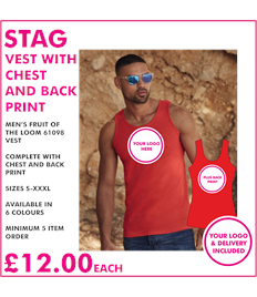 Stag vest with chest and back print