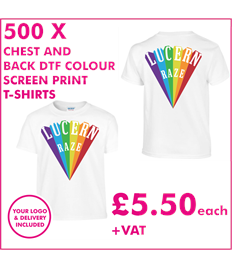 500 DTF Screen Printed T-shirts with chest and back print