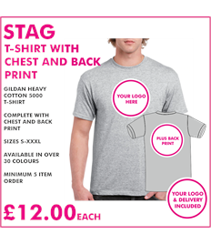 Stag T-shirt chest and back print