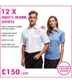 12 x Premier Men's short sleeve poplin work shirt