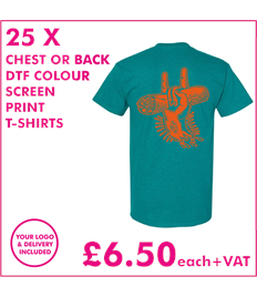 25 DTF Screen Printed T-shirts with chest print