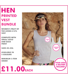 Hen vest with left breast and back print