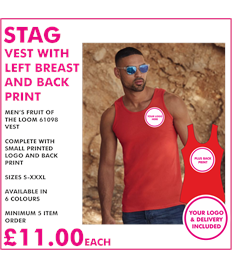 Stag vest with left breast and back print