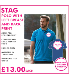 Stag polo with left breast and back print
