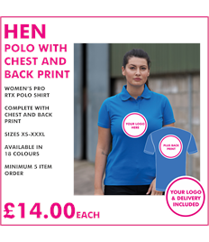 Hen polo with chest and back print